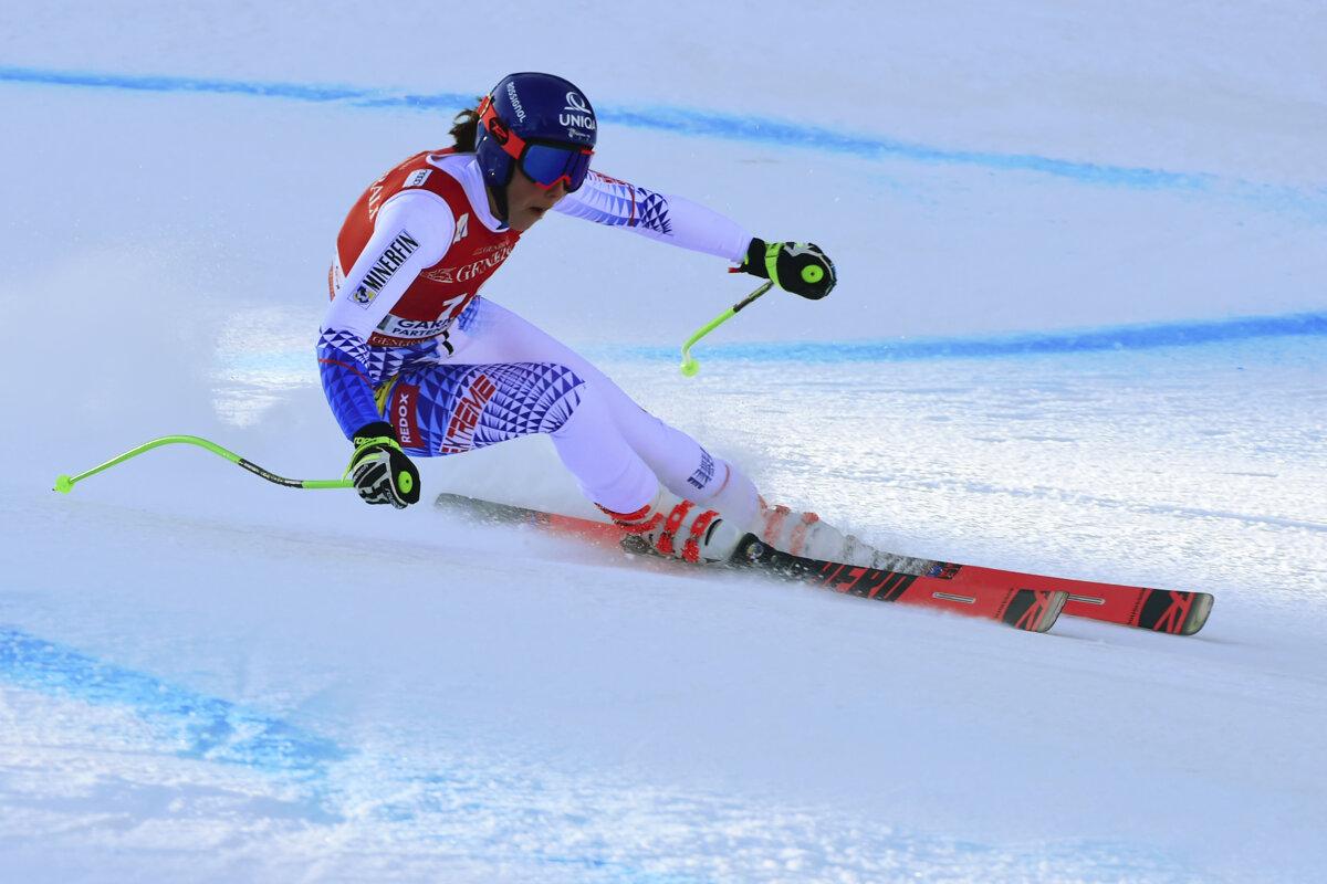 Petra Vlhová v obrovskom slalome v slovinskej Kranjskej Gore.