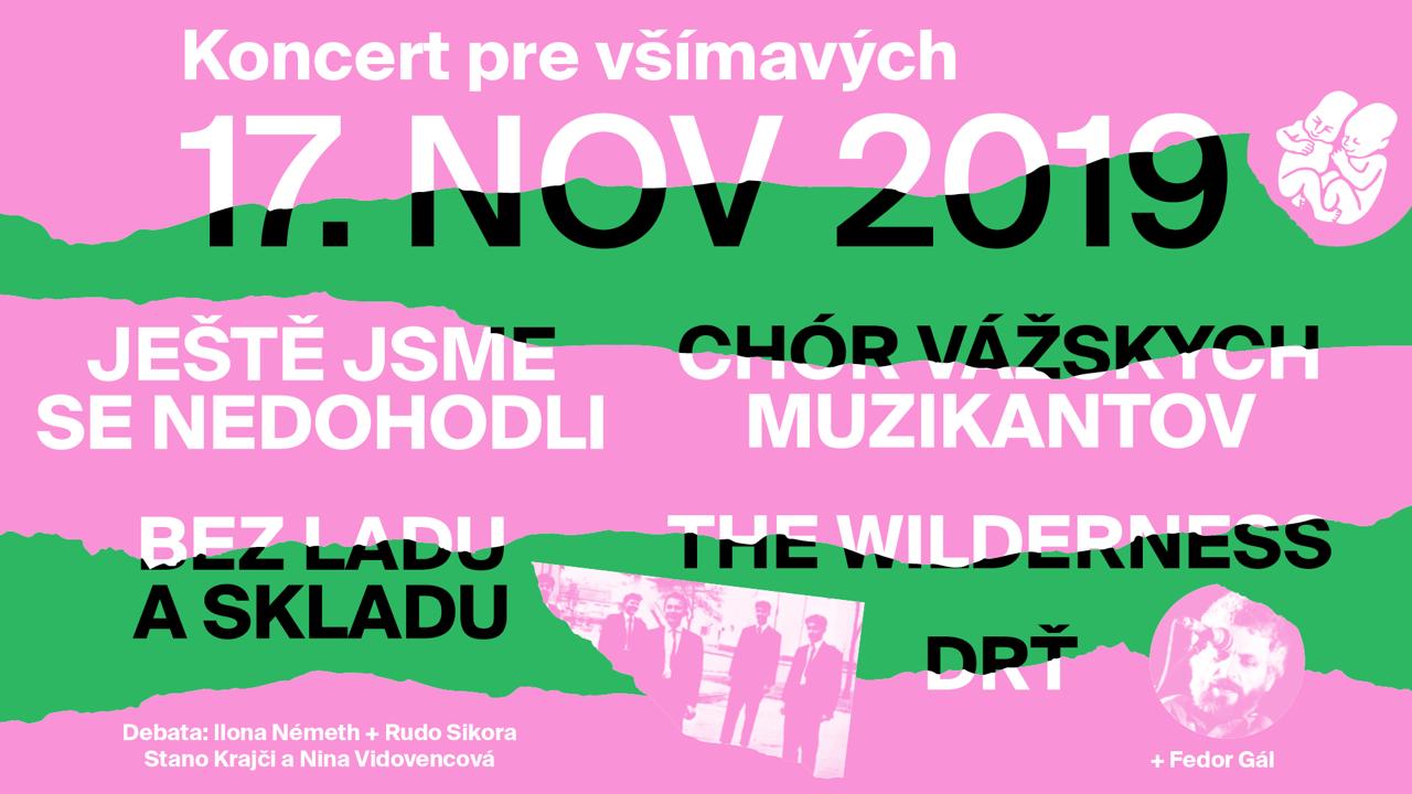 Koncert pre všímavých 17.11. 2019 v Umelke a vo Fuge