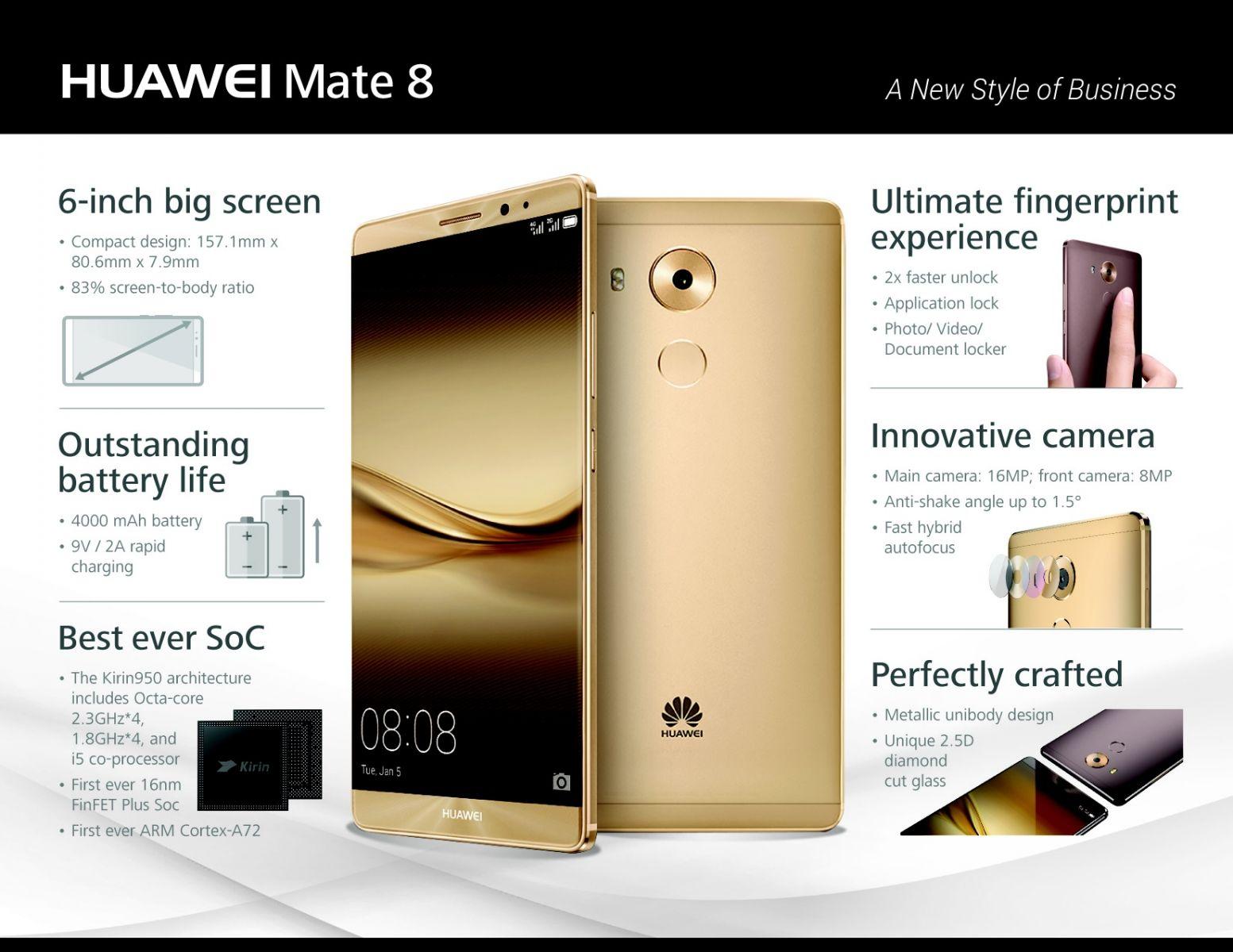 Huawei predstavuje novú vlajkovú loď Mate 8 s výkonným čipsetom Kirin 950