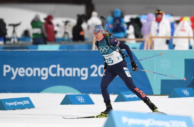 Slovenská biatlonistka Anastasia Kuzminová počas pretekov v biatlone – šprintu žien na 7,5 km na ZOH 2018 v juhokórejskom Pjongčangu.