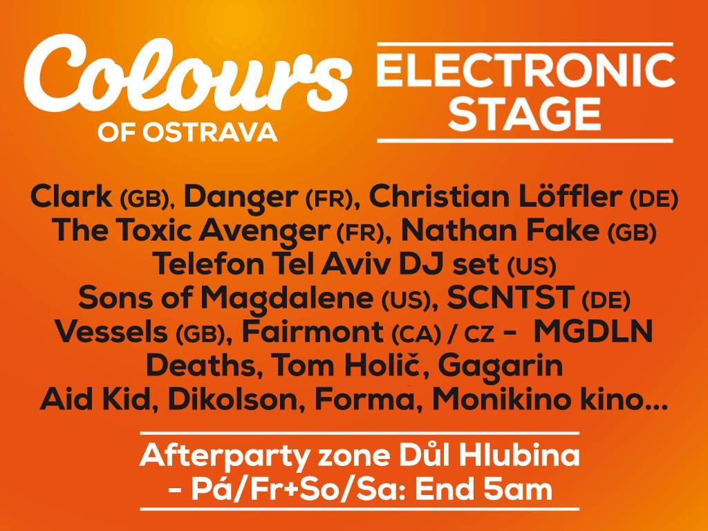 Hlavnými ťahákmi elektronickej scény na Colours of Ostrava 2015 sú Danger, Clark, Telefon Tel Aviv aj Nathan Fake