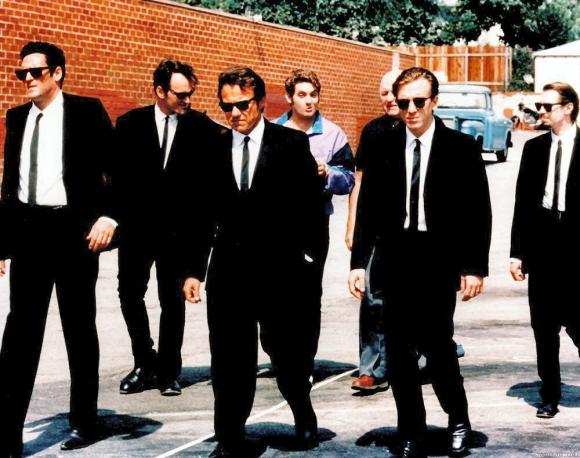 Michael Madsen, Quentin Tarantino, Harvey Keitel, Chris Penn, Lawrence Tierney, Tim Roth a Steve Buscemi vo filme GauneriFoto: Dog Eat Dog Productions