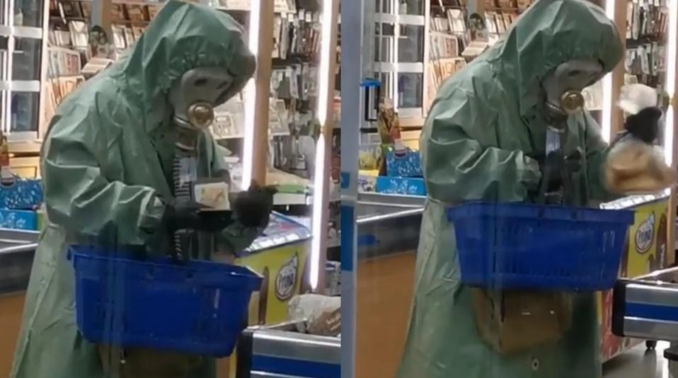 Video: Po rožky a kofolu s plynovou maskou a v obleku ako po atómovom výbuchu