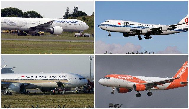 Horný rad zľava: lietadlá leteckej spoločností Turkish Airlines a Air China ; spodný rad zľava: lietadlá spoločností Singapore Airlines a EasyJetu.