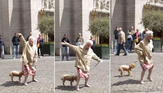 Video: Nikto nečakal, ako seniorka zareaguje na pouličného zabávača