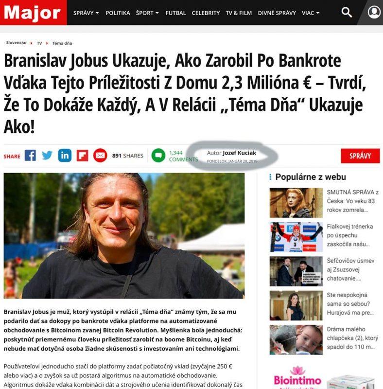 Kryptopodvod zneužil identitu hudobníka a spisovateľa Branislava Jobusa. Ten už podal trestné oznámenie.