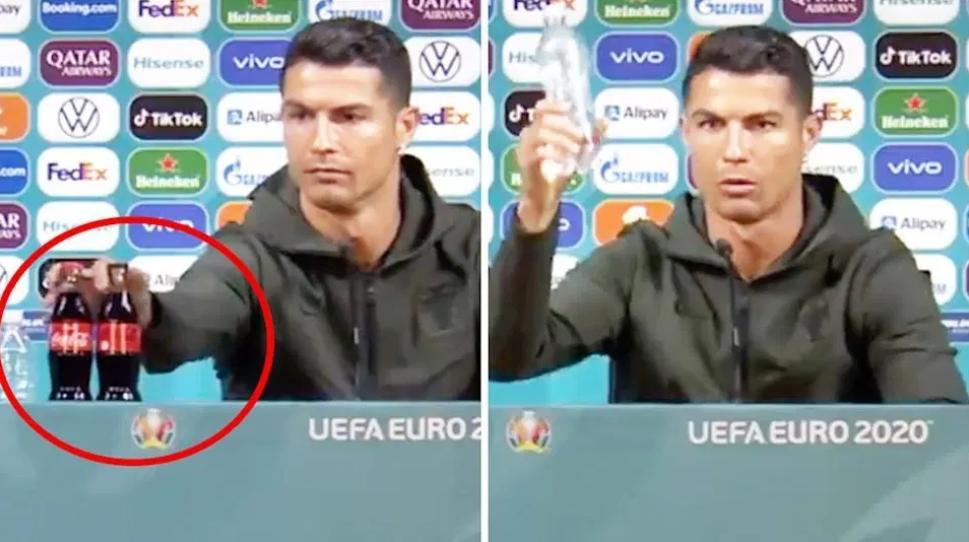 """Video: Ronaldo vyhodil fľaše Coca-Coly a zakričal """"Pite vodu!""""."""