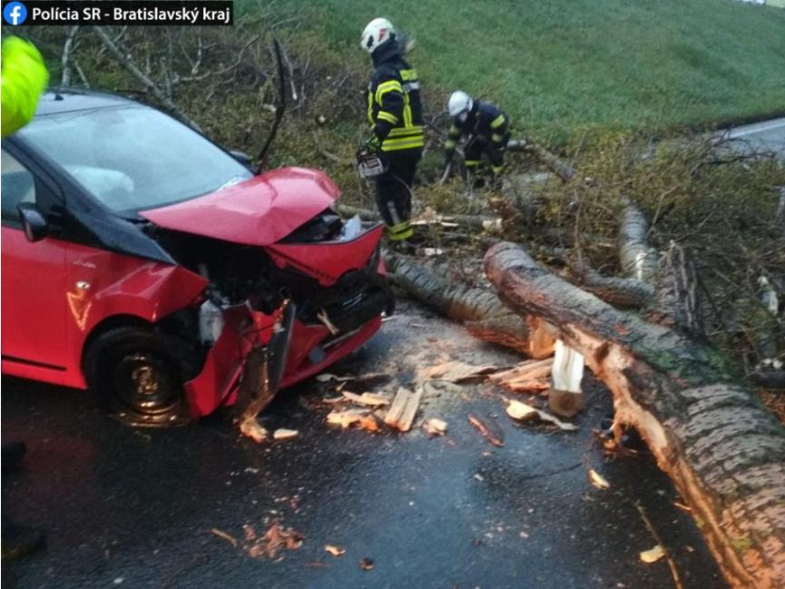 Bratislava zápasí so silným vetrom, strom spadol aj na vozidlo