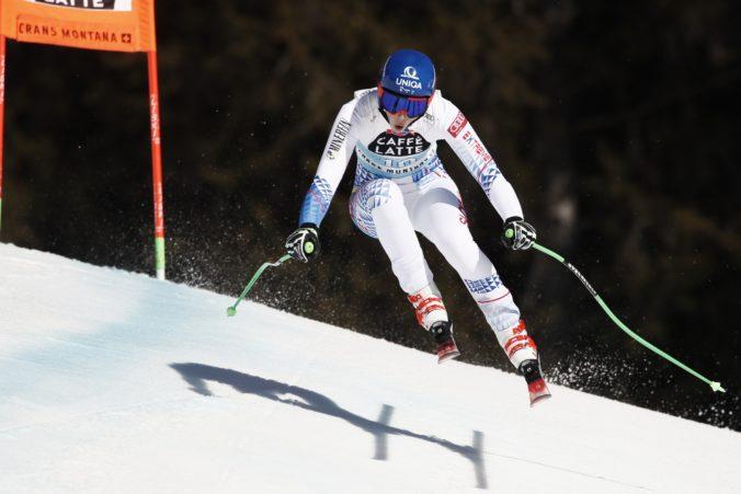 Slovenská lyžiarka Petra Vlhová počas sobotňajšieho zjazdu Svetového pohára vo švajčiarskej Crans Montane. Crans Montana, 22. február 2020. Foto: SITA/AP.