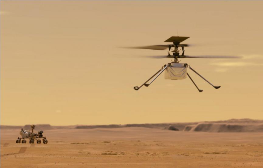 NASA zachytila zvuk vrtuľníka počas jeho preletu marťanskou atmosférou
