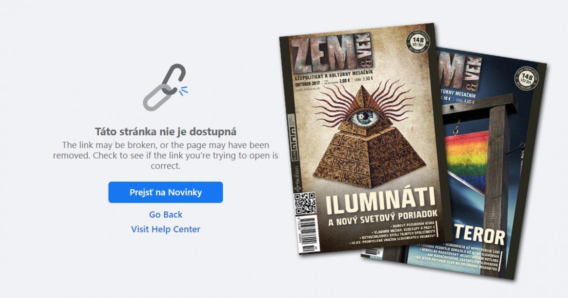 Facebook zrušil stránky konšpiračného časopisu Zem a vek pre opakované porušovanie pravidiel